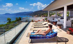 a picture of the sun terrace at hotel cala luna in cala gonone east sardinia