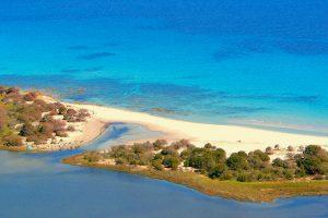 a picture of Spiaggia Biderosa and Stagno Biderosa, near Orosei, east Sardinia, Italy.