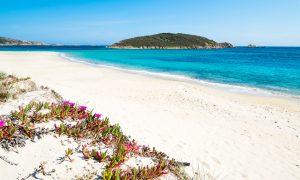 a picture of tuerredda beach near capo spartivento in south sardinia