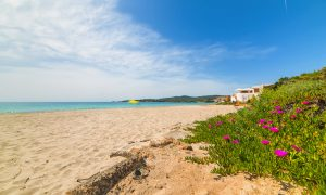 a picture of bombarde beach in alghero north west sardinia