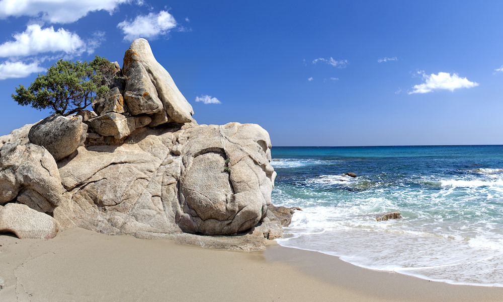 a picture of rocks at spiaggia di santa giusta in south-east sardinia