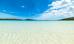 a picture of the clear waters at cala brandinchi beach in san teodoro sardinia