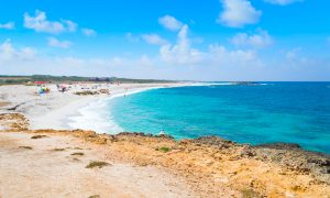 a picture of the Is Arutas beach in the province of Oristano in west Sardinia Italy.