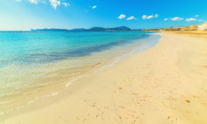 a picture of lido beach near alghero in north-west sardinia