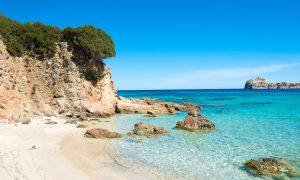 a picture of the northeast side of  Porto Tramatzu Beach near Teulada in South Sardinia