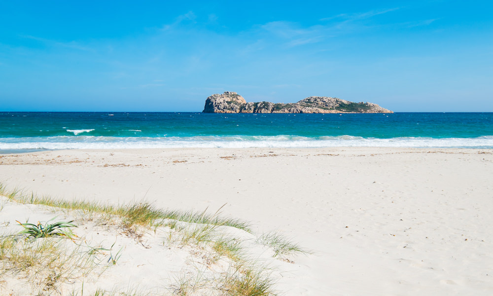a picture of porto tramatzu beach near teulada in south sardinia