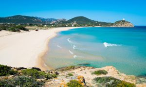 a picture of monte Cogoni beach in chia south sardinia