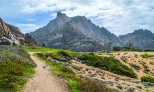 a picture of a hiking trail to valle della luna in capo testa north sardinia