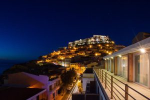 a picture of a view from the janus hotel in castelsardo