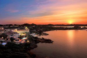 a picture of a nice sunset over Grand Hotel Smeraldo Beach in Baja Sardinia, Costa Smeralda, north-east Sardinia, Italy.