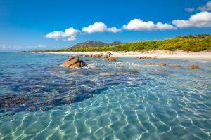 a picture of Spiaggia di Berchida, a long stretch of sand near Orosei in east Sardinia, Italy.