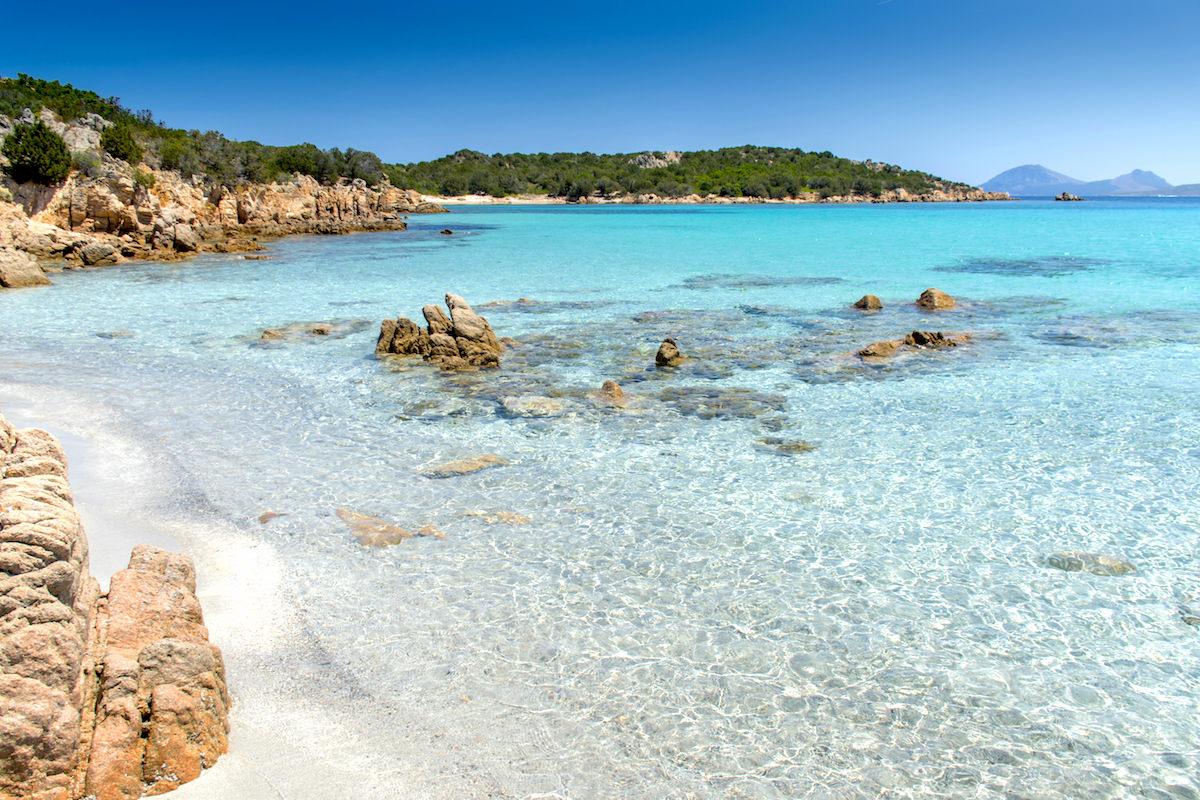 a picture of the clear waters at Spiaggia di Petra Ruja, near Portisco, Costa Smeralda, north-east Sardinia.
