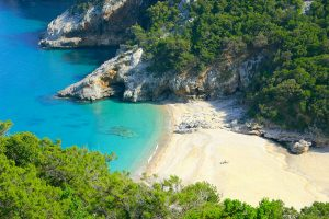 a picture of the beach named Spiaggia di Cala Sisine, in east Sardinia, Italy.