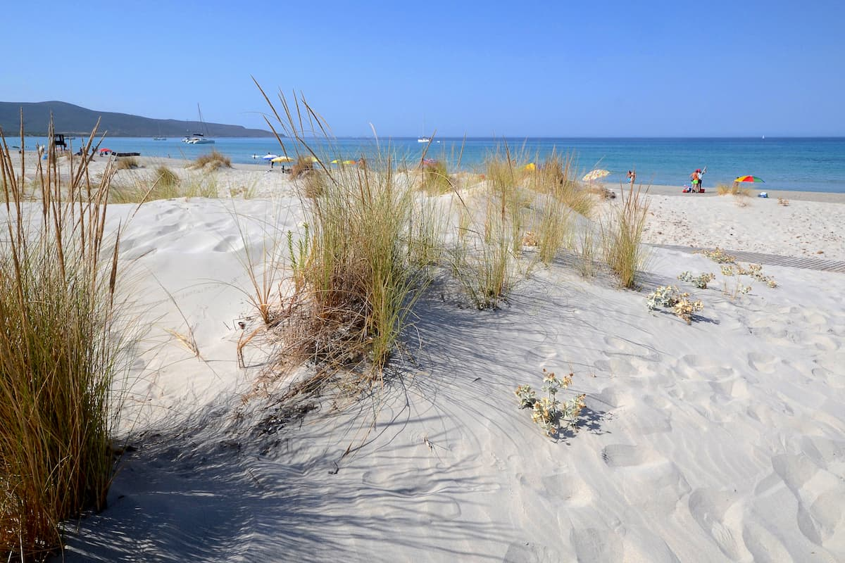 soft sands and dunes at Spiaggia di Is Arenas, Oristano, west Sardinia, Italy.
