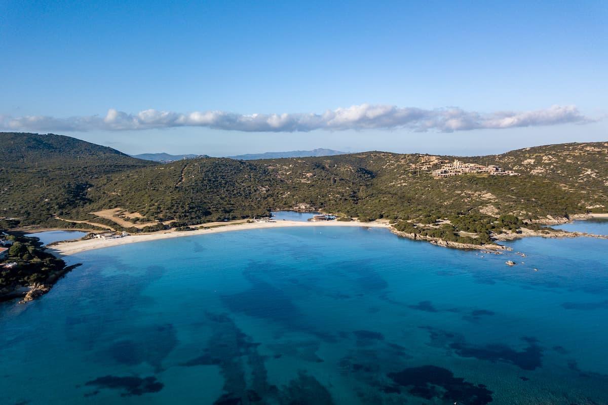 Spiaggia Cala Sassari seen from the air, close to Golfo Aranci, in north-east Sardinia, Italy.