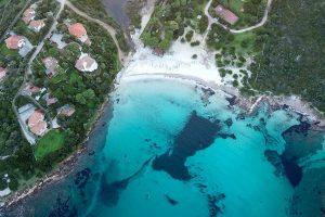 an aerial picture of Spiaggia di Sos Aranzos, Golfo Aranci, Olbia-Tempio, Sardinia, Italy.