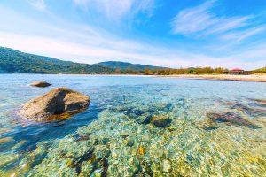 the beautiful beach of Spiaggia di Cala Pira near Villasimius in Sardinia, Italy.