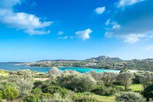 the beach named Spiaggia di Ira and its surroundings in Porto Rotondo, Emerald Coast, north-east Sardinia, Italy.